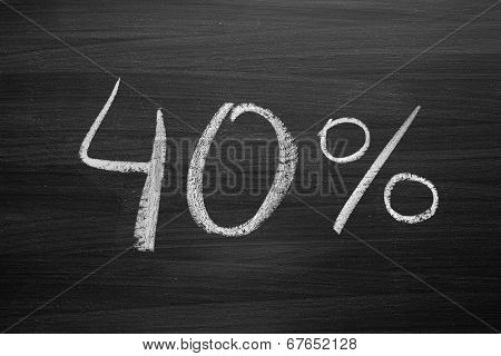 40-percent header written with a chalk on the blackboard