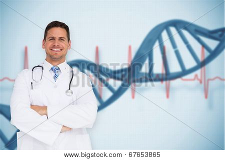 Handsome doctor with arms crossed against blue medical background with dna and ecg