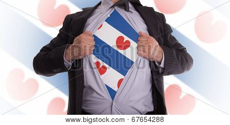 Business Man With Frisian (friesland) Flag T-shirt