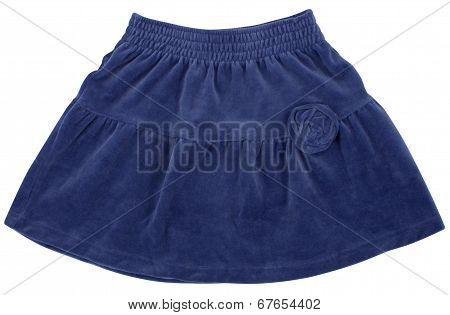 Child or woman's blue skirt. Isolated on white