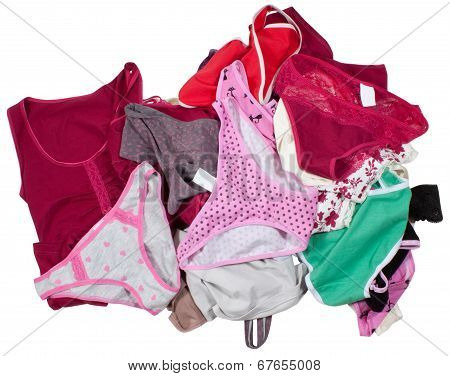 Lots of colorful lingerie isolated on white