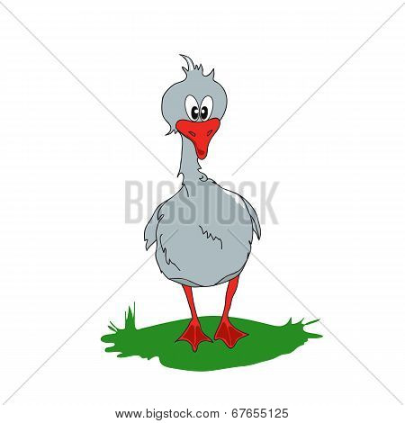 Cartoon Gray Goose On A Green Glade.