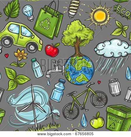 Doodles eco icon seamless