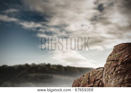 Digitally generated large rock overlooking vast forest