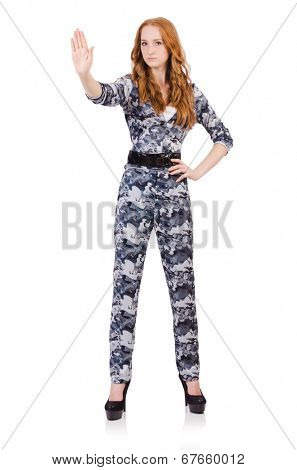 Young woman soldier isolated on white