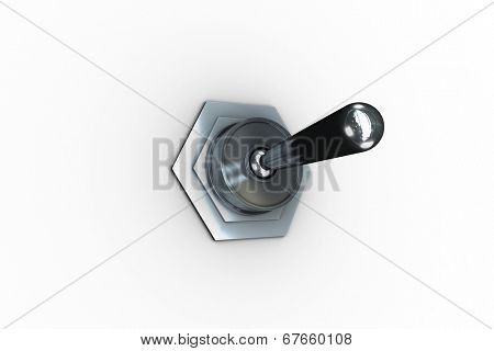 Digitally generated metal flip switch on white background