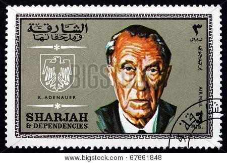Postage Stamp Spain 1969 Konrad Adenauer, German Statesman