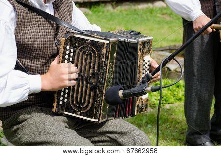 Accordionist Man Play Folk Music With Accordion