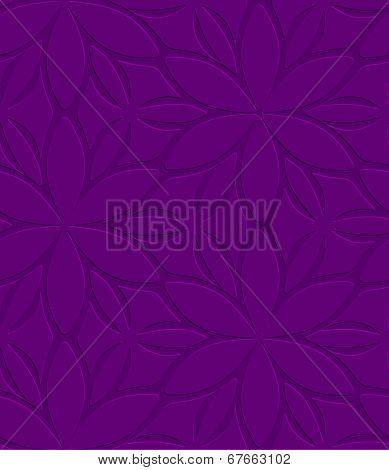 Purple Floral Ornament Embossed Seamless