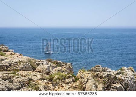 Calm Atlantic Ocean In Fortaleza De Sagres, Portugal
