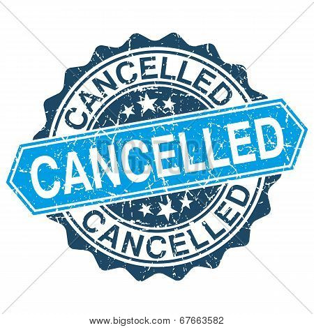 Cancelled Grungy Stamp Isolated On White Background