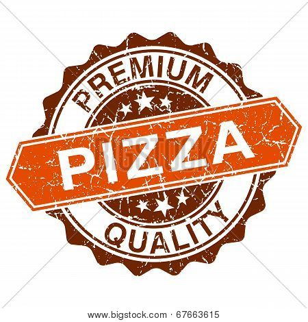 Pizza Grungy Stamp Isolated On White Background