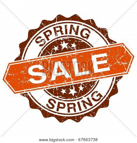 Spring Sale Grungy Stamp Isolated On White Background