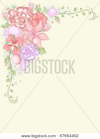 Corner Border Illustration Featuring a Clump of Colorful Flowers