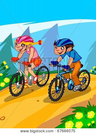 The Illustration Of Cartoon Teenagers On Bicycle.