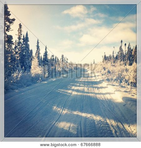 Snowmobile trail in winter - instagram effect