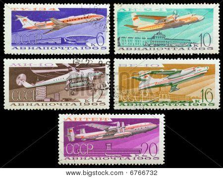 Old Soviet Stamps (1965).