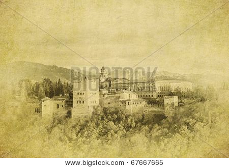 Vintage Image Of  Of Alhambra Palace, Granada, Spain