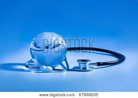 Stethoscope and a Globe