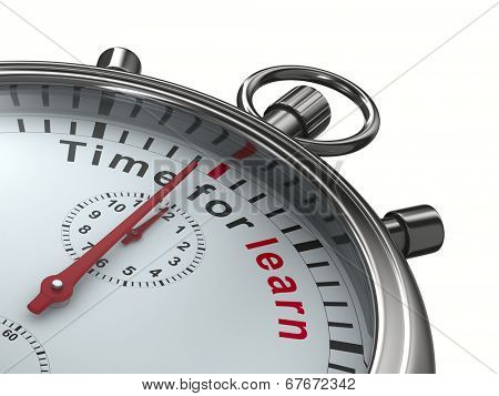 Time for learn. Stopwatch on white background. Isolated 3D image