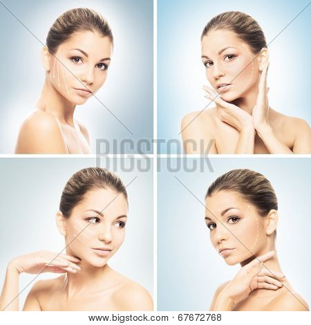 Portrait of young and attractive and healthy woman. Plastic surgery, makeup and face lifting concept.