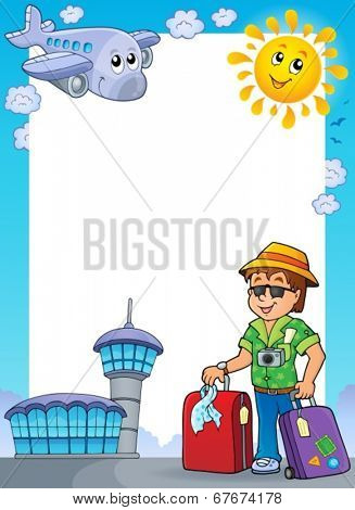 Frame with travel thematics 1 - eps10 vector illustration.