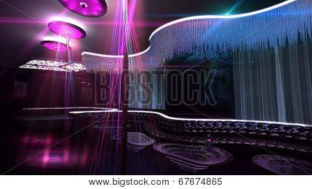 Karaoke Nightclub Spotlight Blue