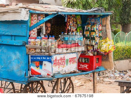 Street Vendor Sells Basic Grocery Products