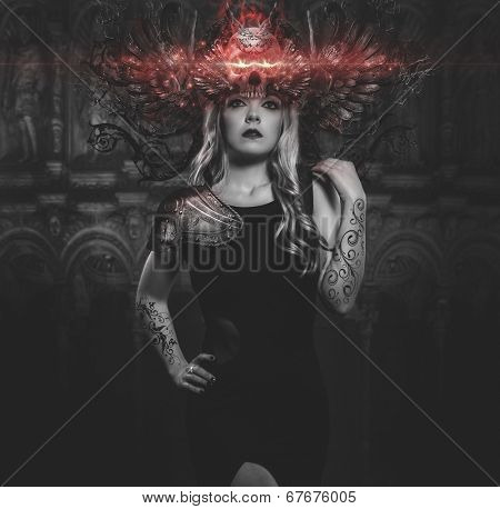 woman with black dress and tiara iron gothic fantasy shapes cathedral background