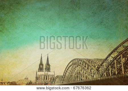 Vintage Cologne Cathedral and Bridge, Germany