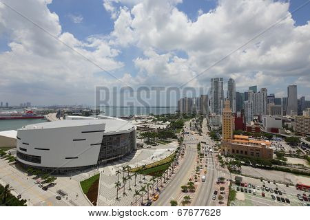 Aerial drone downtown Miami