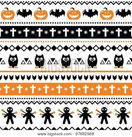 Halloween seamless pattern - pumpkin, ghost, voodoo doll