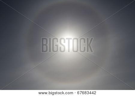 Solar Gallo In The Sky Antarctic Summer Day