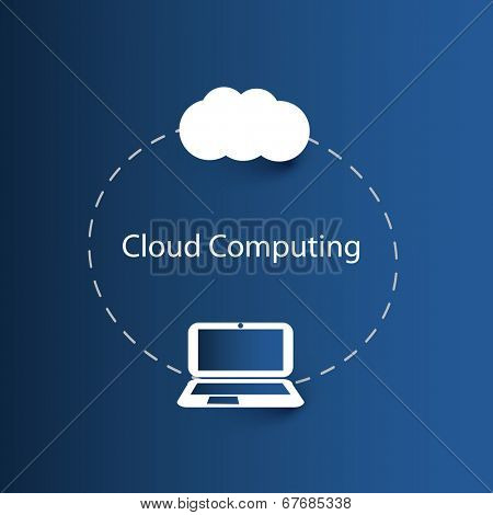 Cloud Computing Concept with Laptop Computer. Eps 10 Stock Vector Illustration