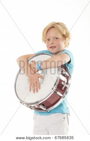 Young Blond Boy Holding Drum