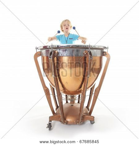Young Boy Playing Kettledrum