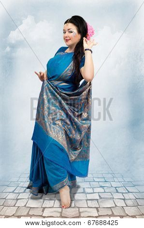 Caucasian Woman Posing In Blue Sari