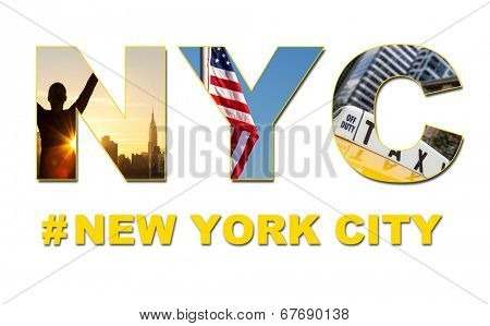 New York City America travel & tourist montage, The Empire State Building, skyline, yellow taxi cab, stars and stripes flag, hash tag and NYC