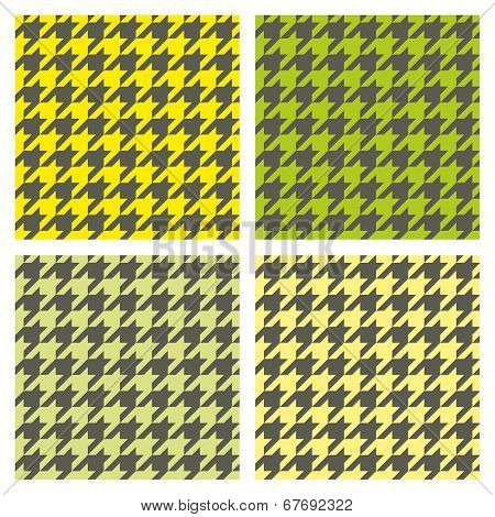 Houndstooth seamless pattern vector set. Traditional tile dogtooth tartan tweed collection