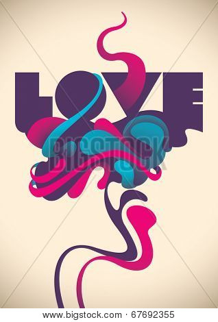 Abstract love poster. Vector illustration.