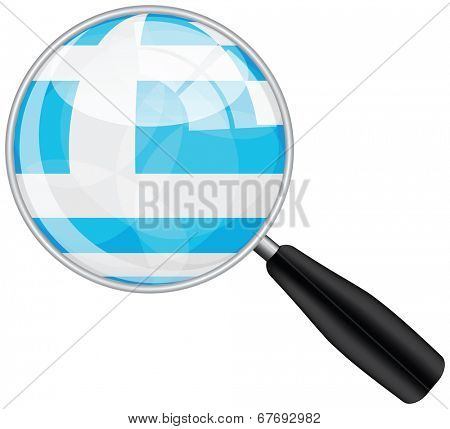 Magnifying glass with Greece flag