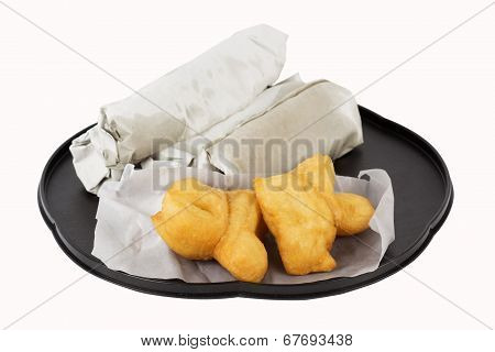 Breakfast Asian Style Deep Fried Dough Stick And Roti Flat Bread