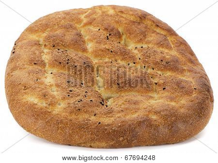 Traditional Turkish pita consumed during holy month Ramadan isolated on white background