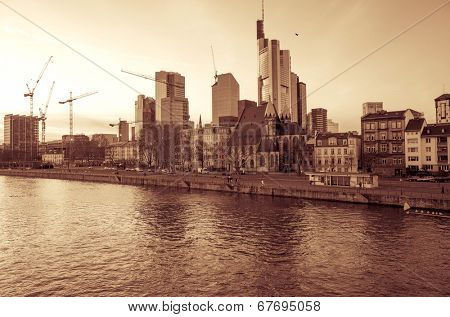 FRANKFURT, HESSE - February 12 : River view of Frankfurt am Main. Frankfurt is the largest city in the German state of Hesse and the fifth-largest city in Germany,February 12, 2014 in Frankfurt,Germany.