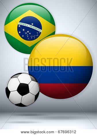 Brazil Versus Colombia Flag Soccer Game