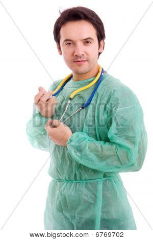 Young Male Doctor With A Stethoscope, Isolated On White