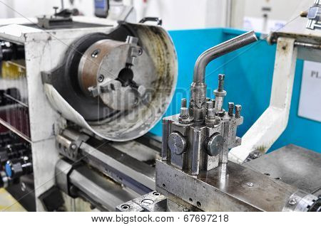 lathe machine in a workshop, Part of the lathe