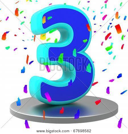 Birthday Anniversary Indicates Celebrating Happiness And 3Rd