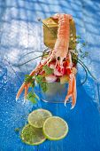 picture of crustacean  - Presentation of a crustacean with mixed vegetables in box - JPG