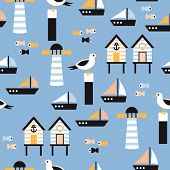stock photo of lighthouse  - Seamless seagull and lighthouse nautical marine illustration background pattern in vector - JPG